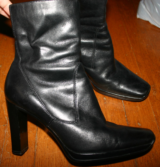 Nine West Black Leather Ladies Ankle Boots Sz 7