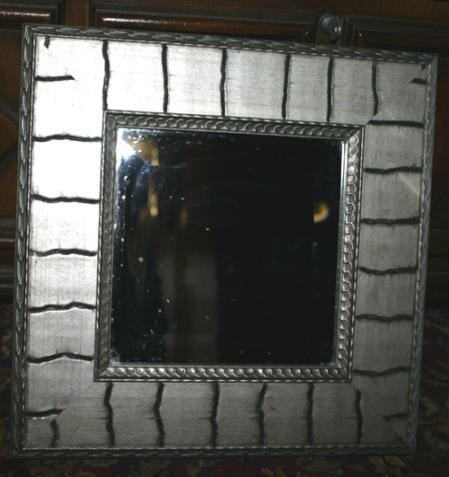 Real Wood Silver Finish Square Beveled Wall Mirror