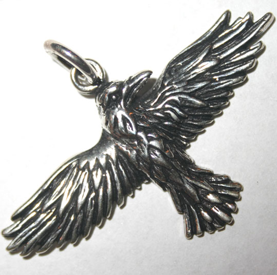 Celtic Raven in Flight Sterling Silver Pendant