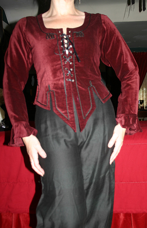 Vintage Burgundy Velvet Corset Laced Wench Blouse Small