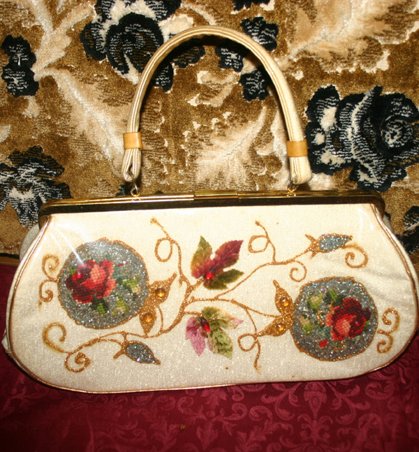 Vintage 1950s Glitter Flowers Large Handbag Purse