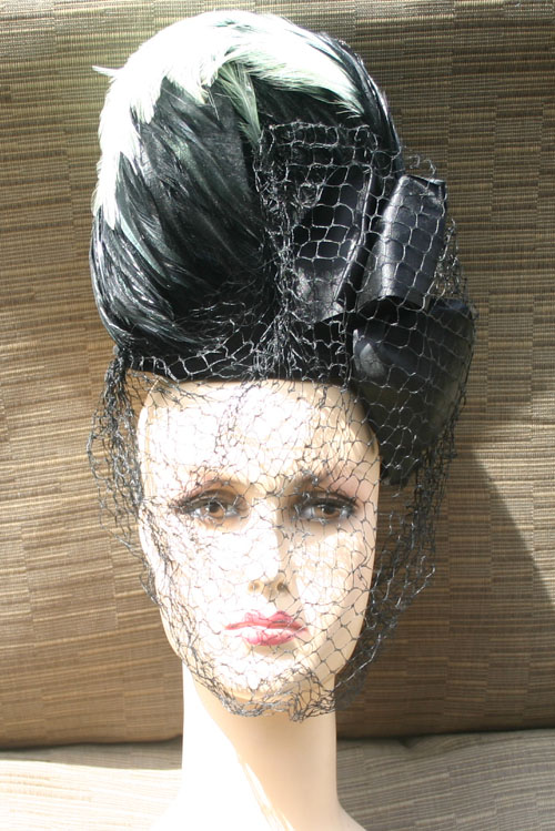 Vintage 1940s Black Wool Feather Veil Tilt Topper Hat