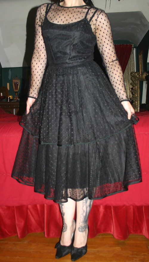 Vintage Gothic Witchy Fitted Black Swiss Dot Lace Dress Small