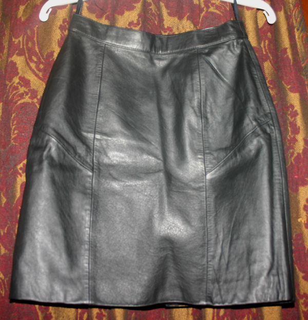 Vintage Tango Black Leather Fetish Pencil Skirt 26 Waist