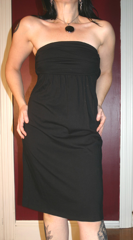 Gap Black Cotton Strapless Summer Dress Small