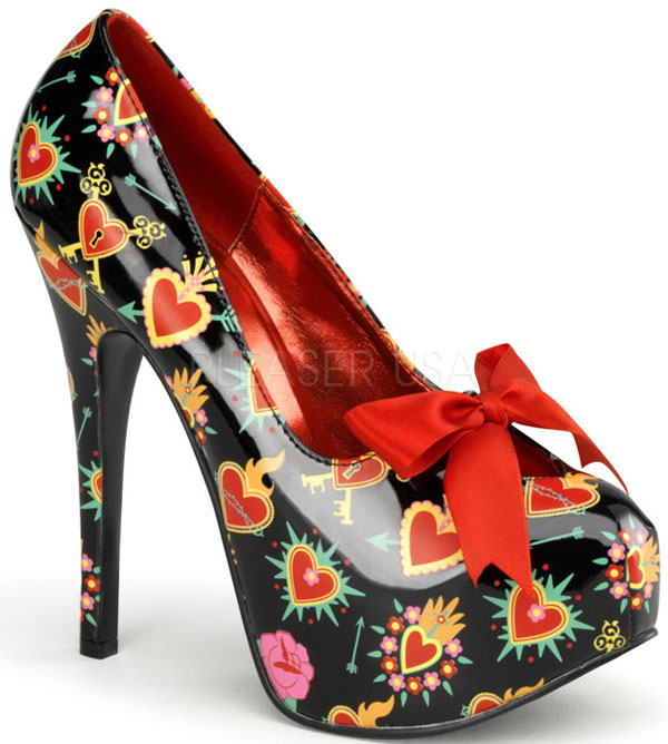 Black Red Tattoo Hearts 6 Inch Platform Heels