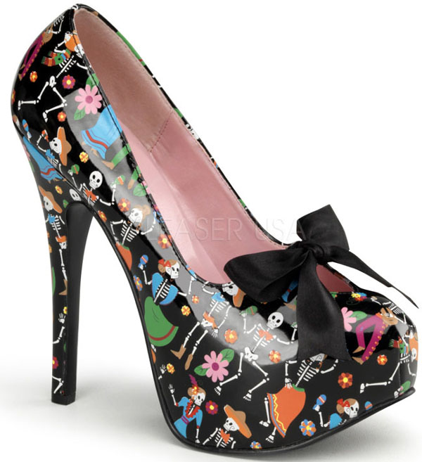 Day of The Dead Skeletons Black 6 Inch Platform Heels