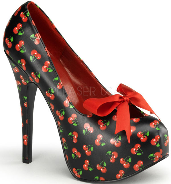 Black Red Cherry Print 6 Inch Platform Heels