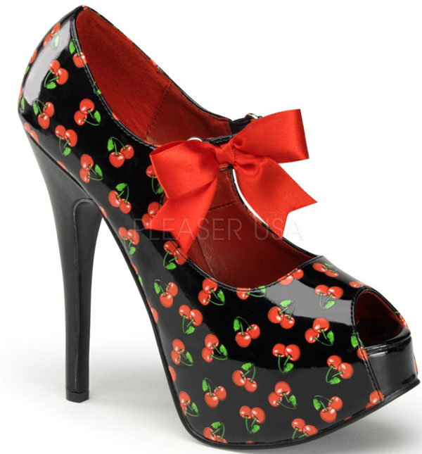 Black Red Cherries Peep Toe 6 Inch Platform Heels
