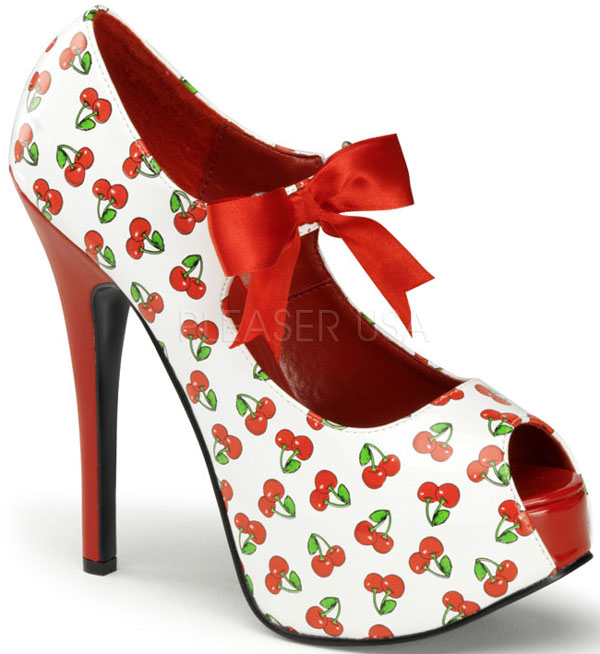White Red Cherries Peep Toe 6 Inch Platform Heels