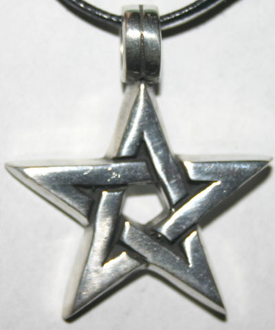 Bold Pewter Pentagram Pendant on Black Cord