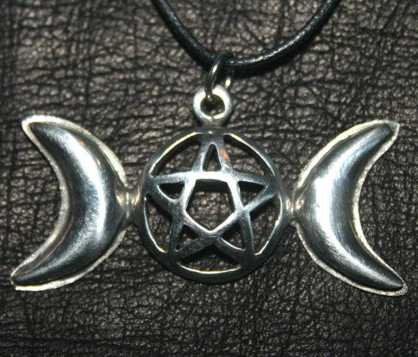 Wiccan Triple Moon Aspect Pentagram Pendant