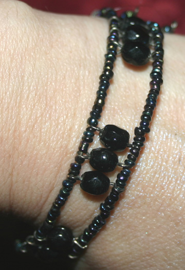 Gothic Purple Black Beaded Bracelet