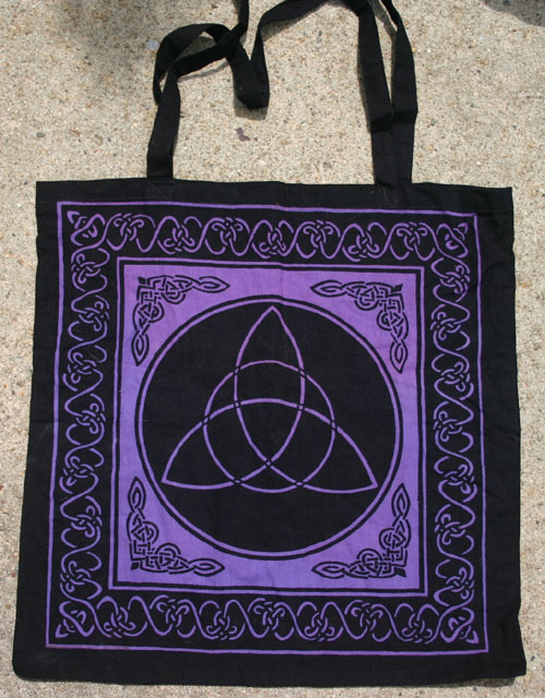 Purple Celtic Witch Triquetra Tote Bag