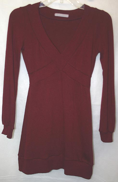 Sexy Burgundy Fitted Tunic Top Mini Dress Small