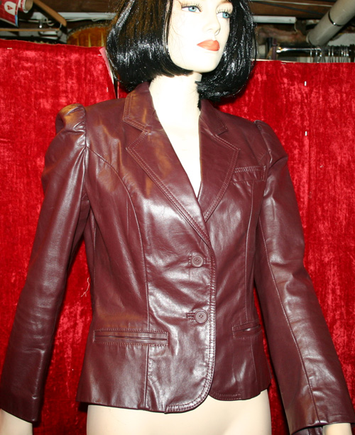 Vintage 1980's Burgundy Leather Puff Shoulder Jacket