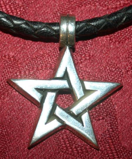 Mens Simple Silver Pentagram Pendant on Black Cord