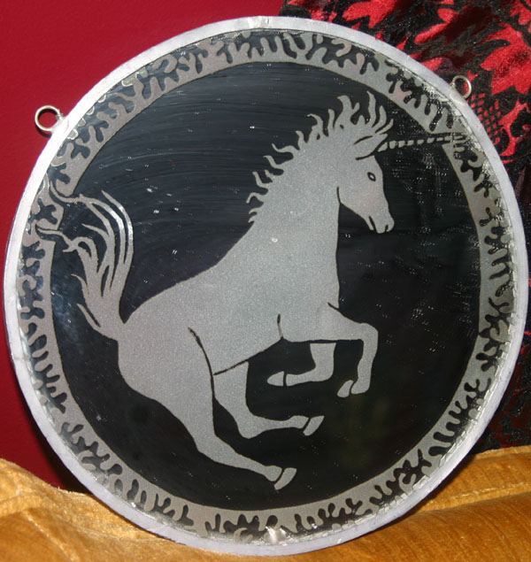 Vintage Etched Glass Unicorn Mirror Wall Hanging