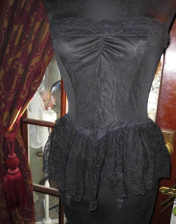 Vintage Nan Flower Black Lace Garter Teddy Corset M