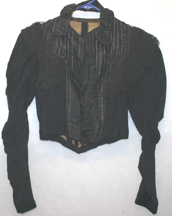 Antique Victorian Black Crochet Lace Bodice Mourning Blouse