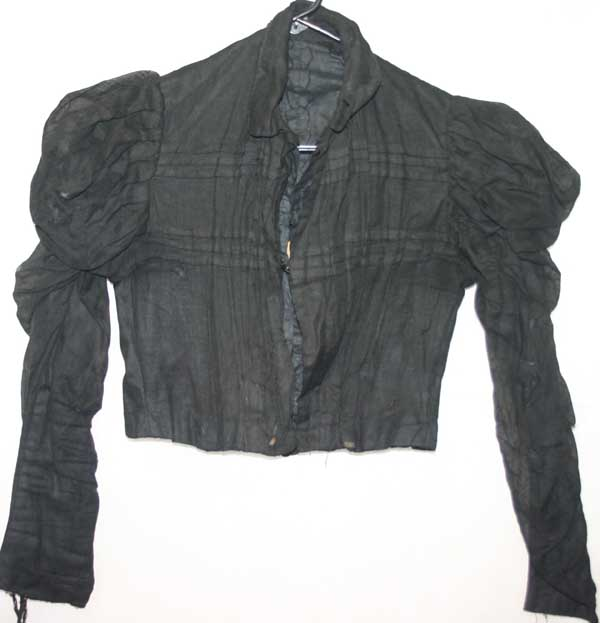 Antique Victorian Black Mutton Sleeves Bodice Mourning Blouse