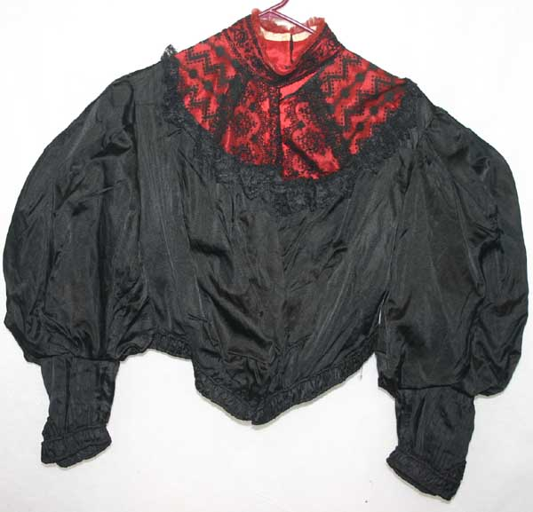 Antique Victorian Red Black Silk Bodice PRESTINE Large Size