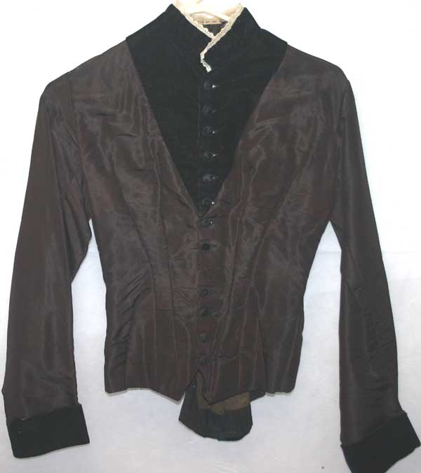 Antique Victorian Silk & Velvet Ladies Bodice Top