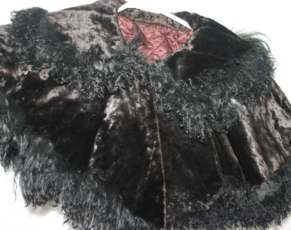 Antique Victorian Black Beaver Fur Mourning Capelet