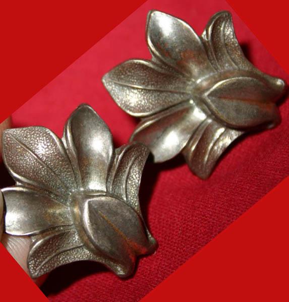 Vintage Sterling Silver Clip-On Art Deco Earrings