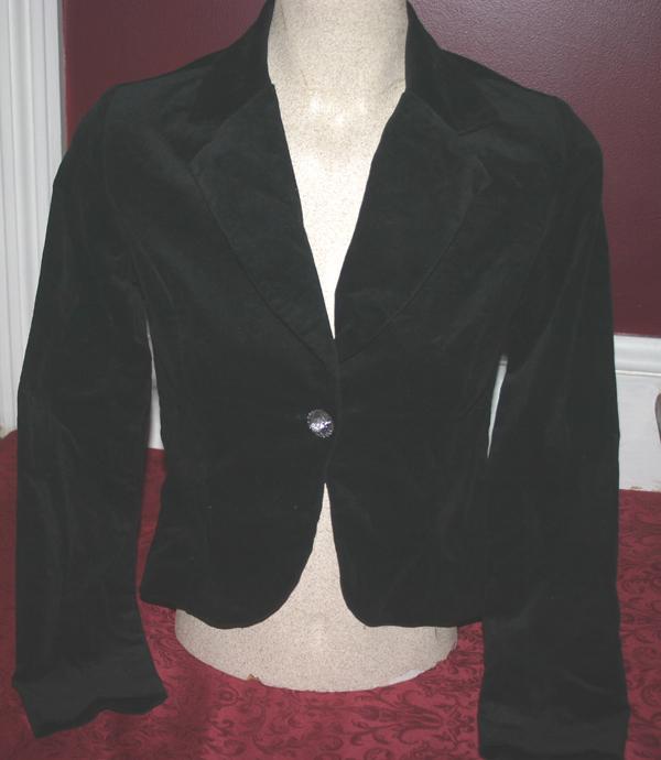 Gothic Black Velvet Blazer Bolero Jacket Small XS