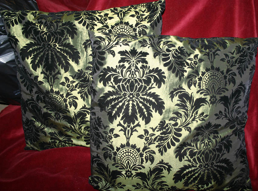 Gothic Medieval Pair Green Black Velvet Flocked Pillows