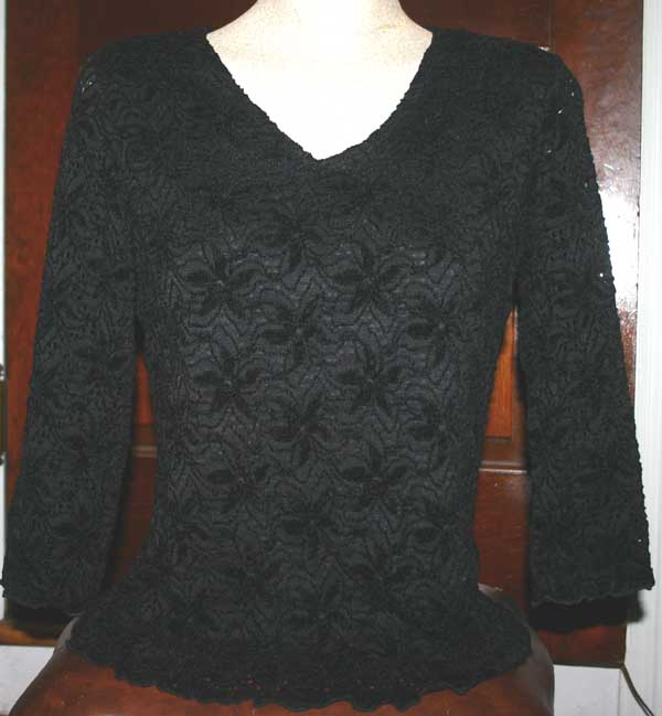 Gothic Witchy Black Velvet Flocked Fitted Top S/M