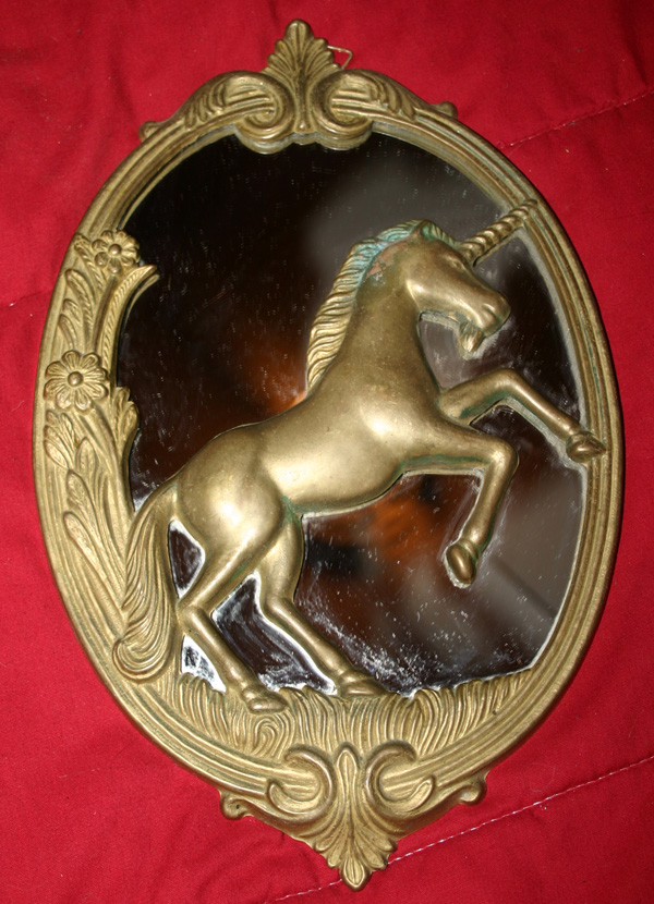 Vintage Solid Brass Fantasy Unicorn Oval Wall Mirror