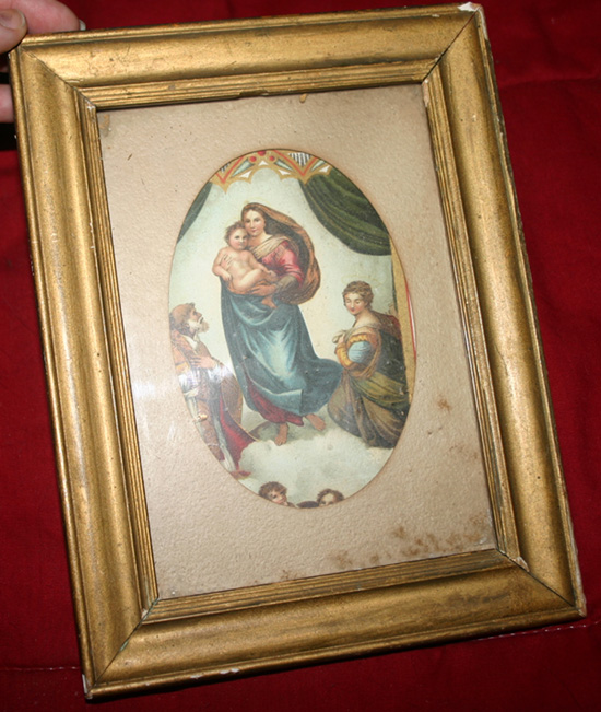 Antique 1909 Mary Baby Jesus Wood Framed Religious Print