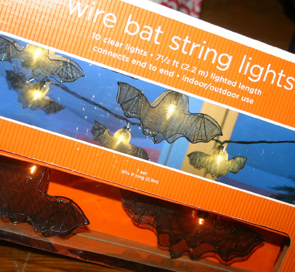 Black Wire Bat Clear Halloween Lights