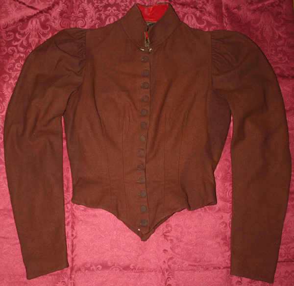 Antique Victorian Rusty Brown Wool Ladies Bodice Top