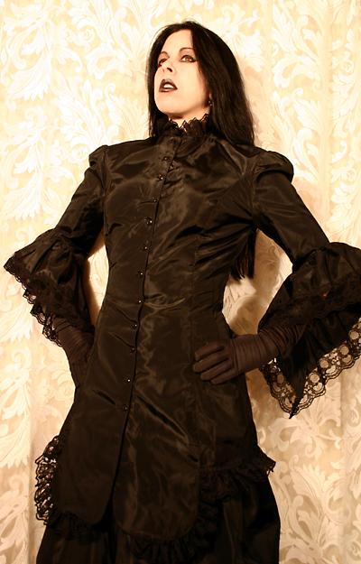 Victorian Gothic Lolita Steampunk Black Taffeta Bustle Gown