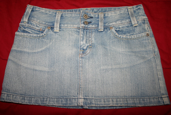 American Eagle Faded Denim Jean Mini Skirt Size 4