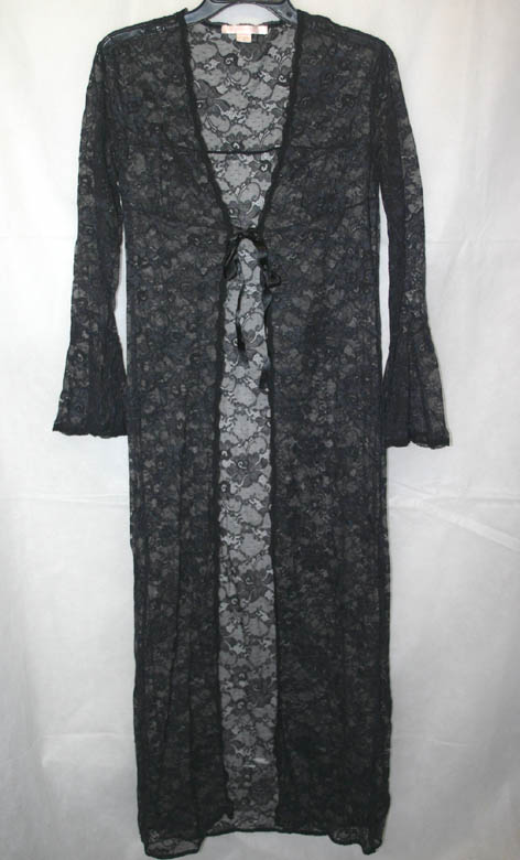 Victorias Secret PinUp Sexy Black Nightgown Robe