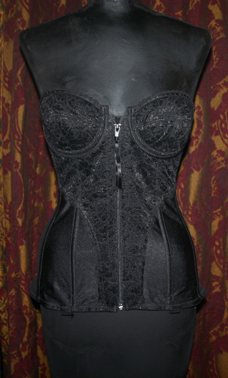 Vintage Black Zip Front Girdle Mesh Lace Bustier 34B